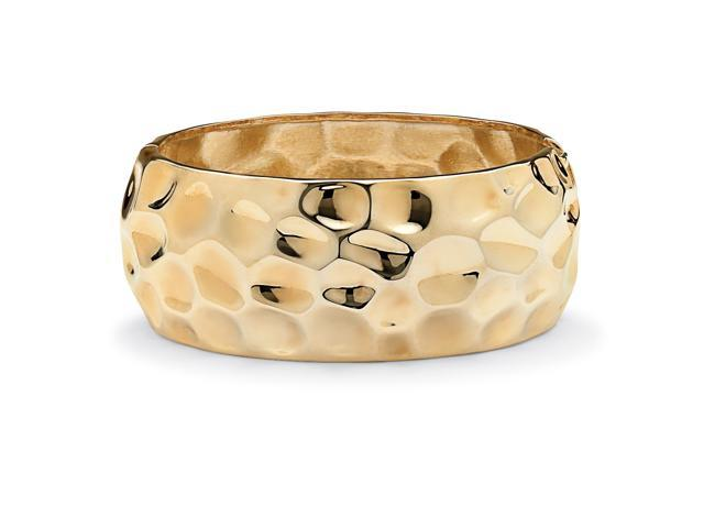 PalmBeach Jewelry Hammered-Style Bangle Bracelet in Yellow Gold Tone 9