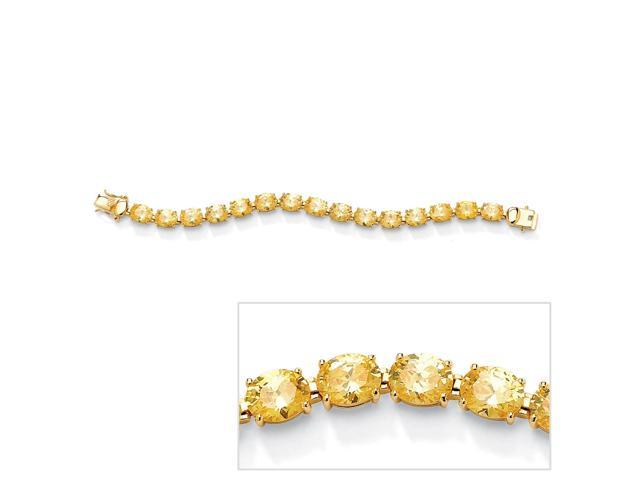 38.10 TCW Oval Cut Canary Yellow Cubic Zirconia 14k Yellow Gold-Plated Tennis Bracelet 7 1/2