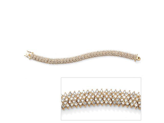 11.55 TCW Round Cubic Zirconia 14k Yellow Gold-Plated Five-Row Tennis Bracelet 7 1/2
