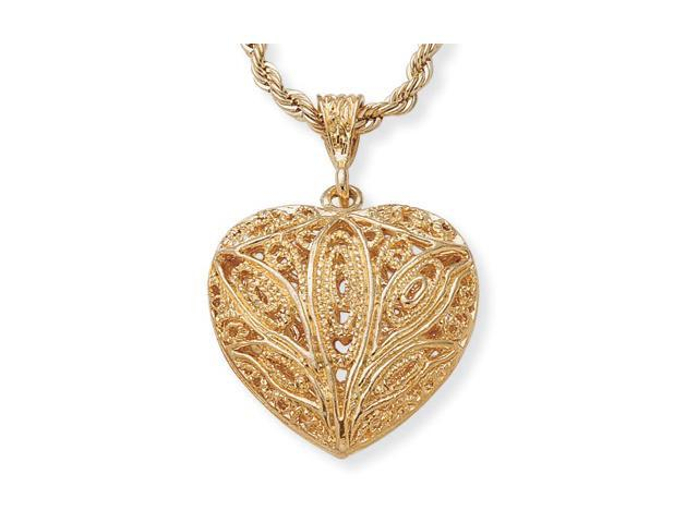 """PalmBeach Jewelry Filigree Heart Pendant Necklace in Yellow Gold Tone 24"""""""