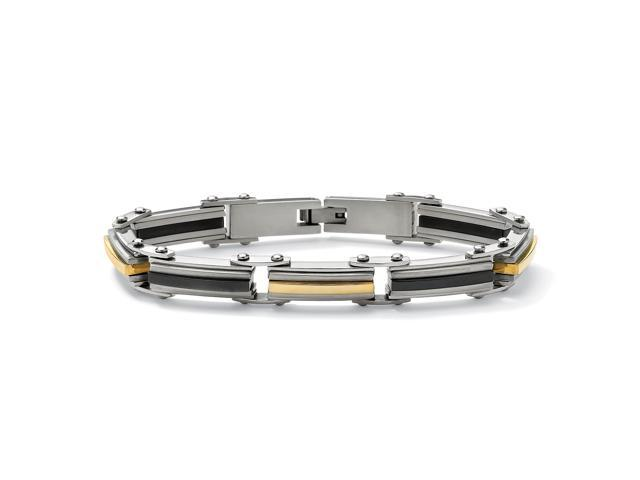 Men's Tri-Tone Black and Gold ION-Plated Stainless Steel Elongated-Link Bracelet 8 1/2