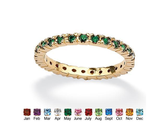 PalmBeach Jewelry Round Birthstone 18k Gold-Plated Stackable Eternity Band - May- Simulated Emerald