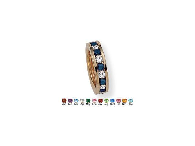 Round Birthstone Baby Ring Charm in 14k Gold-Plated - September- Simulated Sapphire
