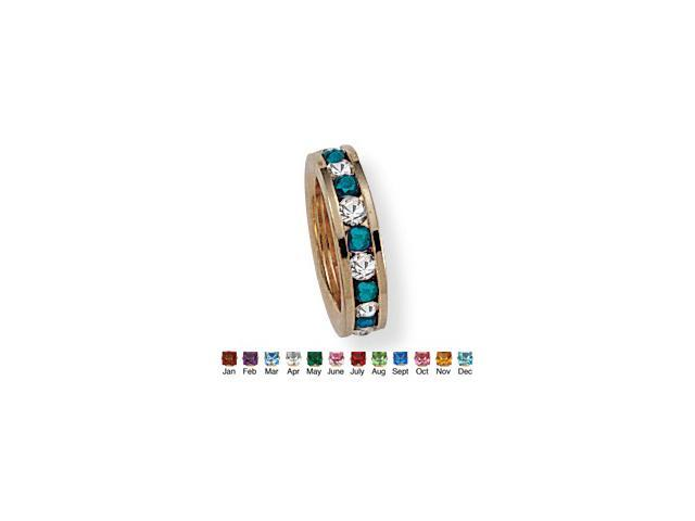 Round Birthstone Baby Ring Charm in 14k Gold-Plated - December- Simulated Blue Topaz