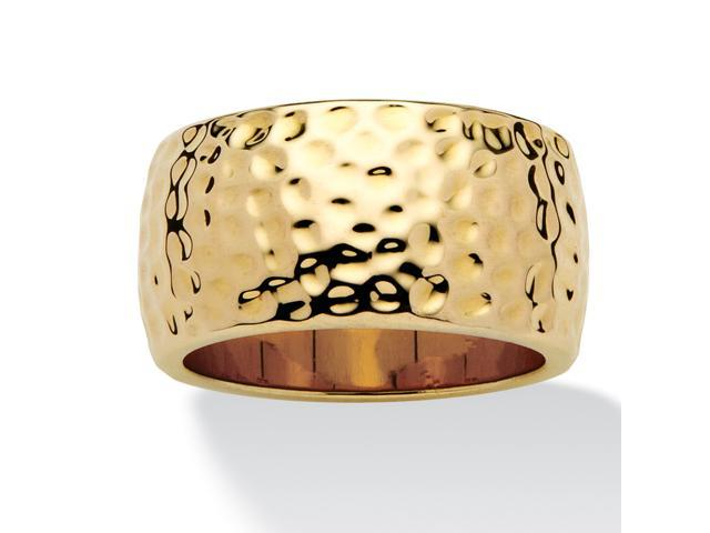 PalmBeach Jewelry 14k Yellow Gold-Plated Hammered-Style Band (10mm)