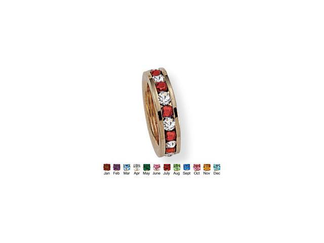 PalmBeach Jewelry Round Birthstone Baby Ring Charm in 14k Gold-Plated - July- Simulated Ruby