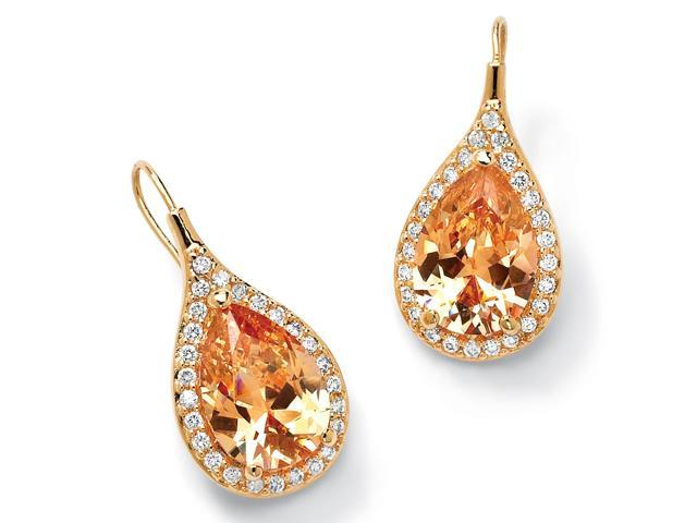 PalmBeach Jewelry 11.60 TCW Pear Cut Champagne/White Cubic Zirconia 18k Gold-Plated Drop Earrings