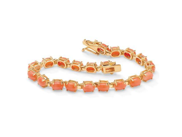 PalmBeach Jewelry Oval-Cut Simulated Coral Cabochon Tennis Bracelet in 14k Gold-Plated 7.5