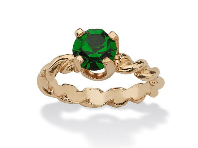 Round Birthstone 10k Gold Baby Ring Charm - May- Simulated Emerald-1398705