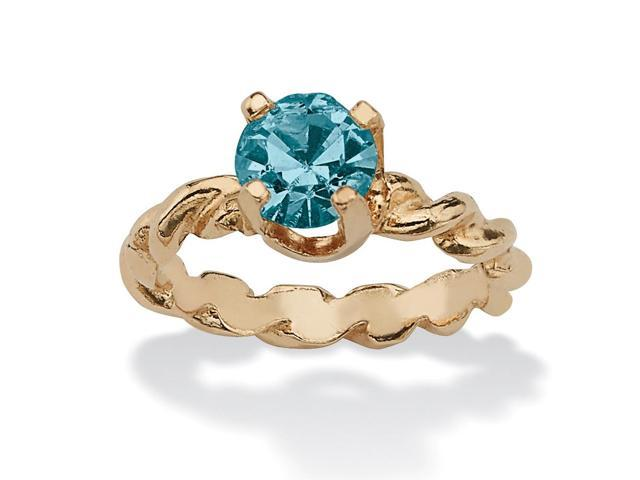PalmBeach Jewelry Round Birthstone 10k Gold Baby Ring Charm - December- Simulated Blue Topaz