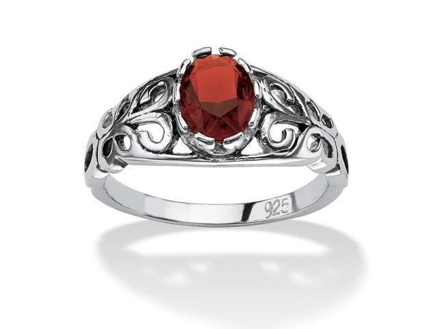 PalmBeach Jewelry Oval-Cut Birthstone Scroll Ring in Sterling Silver- January- Simulated Garnet