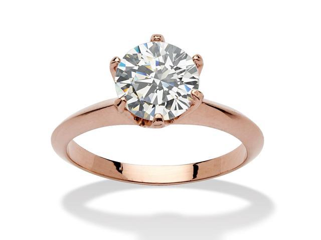PalmBeach Jewelry 2 Carats Cubic Zirconia Solitaire Ring in Rose Gold-Plated