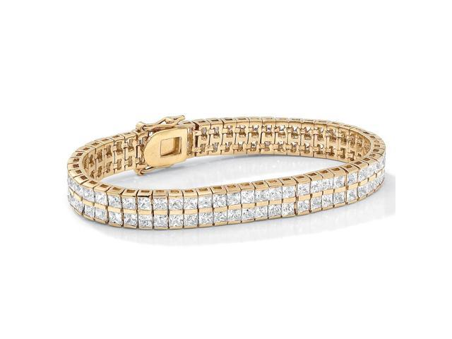 6 TCW Princess-Cut Cubic Zirconia Double-Row Tennis Bracelet in Yellow Gold Tone 7 1/4