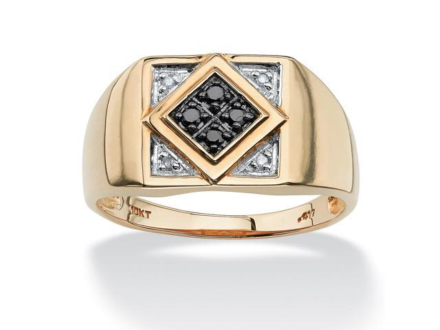 PalmBeach Jewelry Men's .10 TCW Round Black and White Diamond Geometric Ring in 10k Yellow Gold