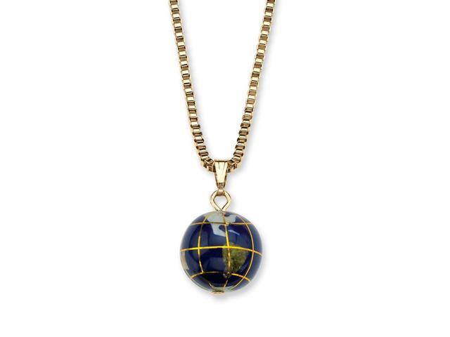 PalmBeach Jewelry Lapis Mosaic Globe Pendant Necklace in Yellow Gold Tone