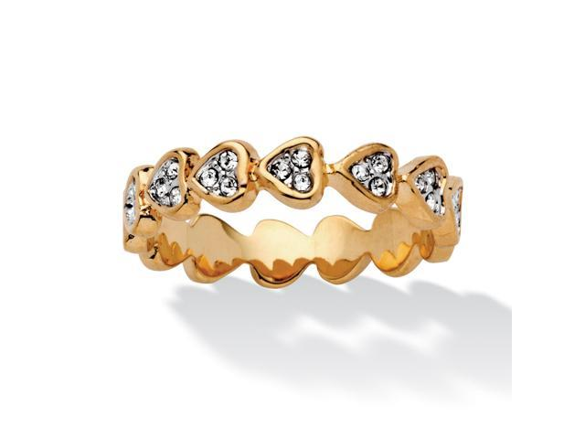 PalmBeach Jewelry Bezel-Set Round Crystal 14k Yellow Gold-Plated Band of Hearts Ring