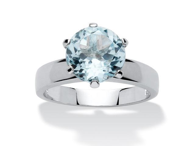 PalmBeach Jewelry 3.80 TCW Round Genuine Blue Topaz Solitaire Ring in Sterling Silver