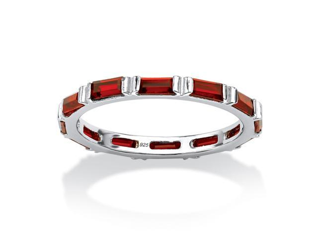 Baguette Birthstone Stackable Eternity Band in .925 Sterling Silver- January- Simulated Garnet