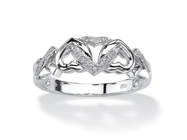 PalmBeach Jewelry Diamond Accent Interlocking Hearts Promise Ring in Platinum over Sterling Silver