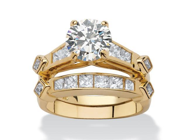 PalmBeach Jewelry 3.14 TCW Cubic Zirconia Two-Piece Bridal Ring Set in 18k Gold over Sterling Silver