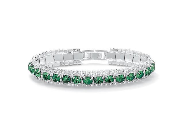 PalmBeach Jewelry Round Birthstone Crystal Accent Silvertone Tennis Bracelet 7