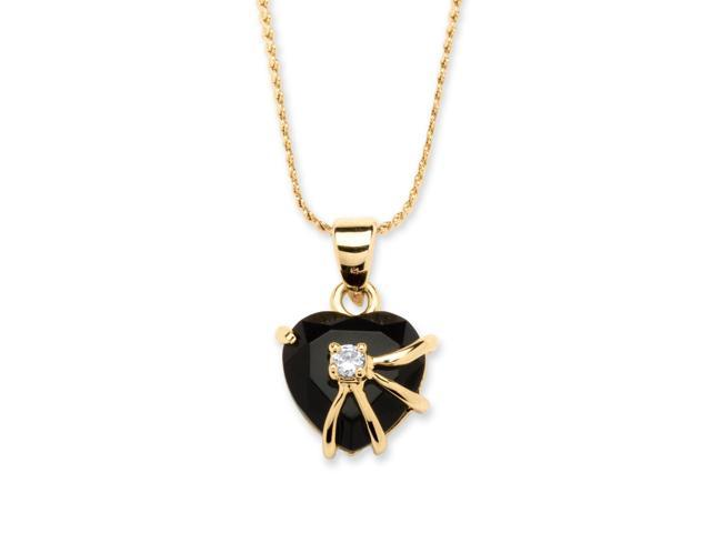 PalmBeach Jewelry Heart-Shaped Onyx with Cubic Zirconia Accent Pendant Necklace in 14k Gold-Plated
