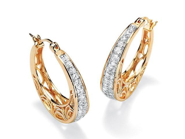 PalmBeach Jewelry .92 TCW Round Cubic Zirconia 14k Gold-Plated Filigree Hoop Earrings