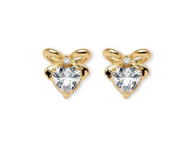 2.30 TCW Heart-Shaped Cubic Zirconia 14k Yellow Gold-Plated Stud Bow-Shaped Earrings
