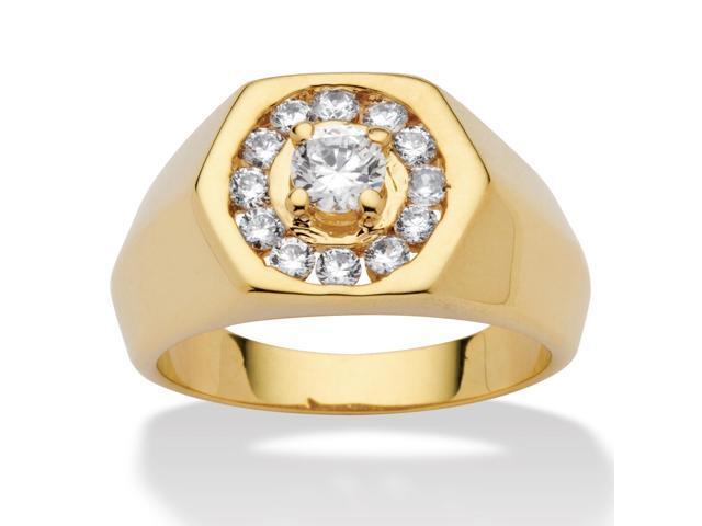 PalmBeach Jewelry Men's .97 TCW Round Cubic Zirconia 14k Yellow Gold-Plated Hexagon-Shaped Ring