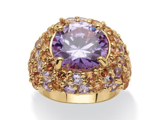 PalmBeach Jewelry 13.50 TCW Round Lavender Cubic Zirconia 14k Gold-Plated Ring