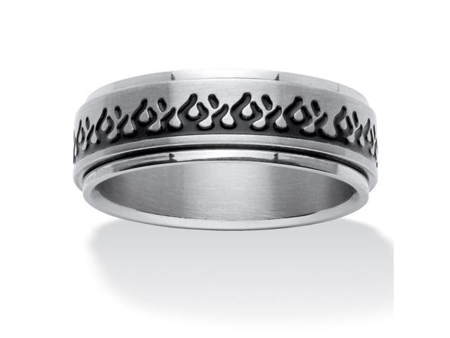 PalmBeach Jewelry Black Ion-Plated Stainless Steel Flame Motif Band Ring
