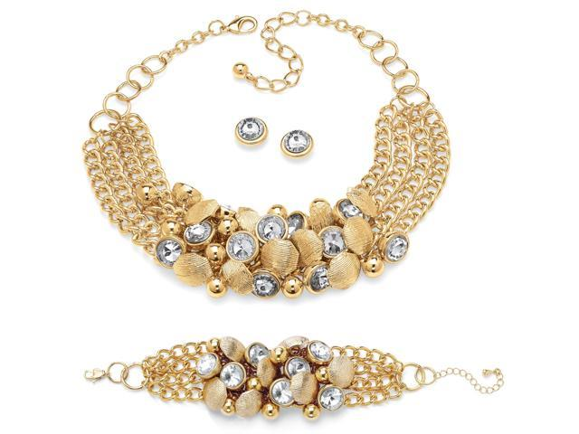 3 Piece Bezel-Set Crystal and Bead Necklace, Bracelet and Stud Earrings Set in Yellow Gold Tone