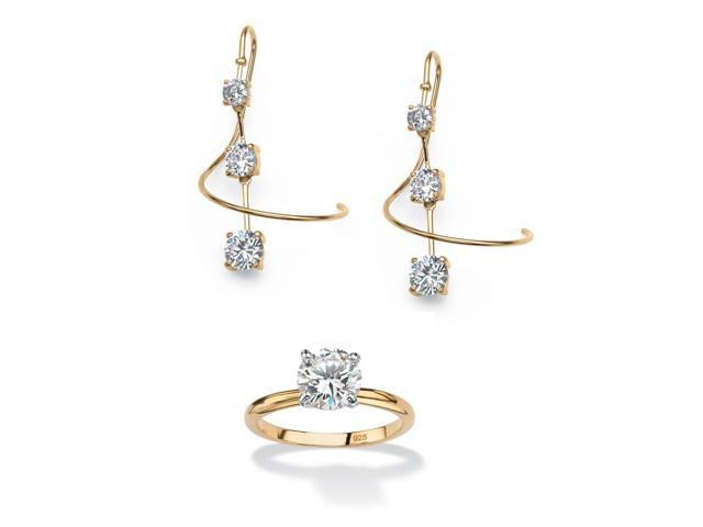 3.30 TCW Round Cubic Zirconia Spiral Drop Earrings in 18k Gold over Sterling Silver and FREE Ring