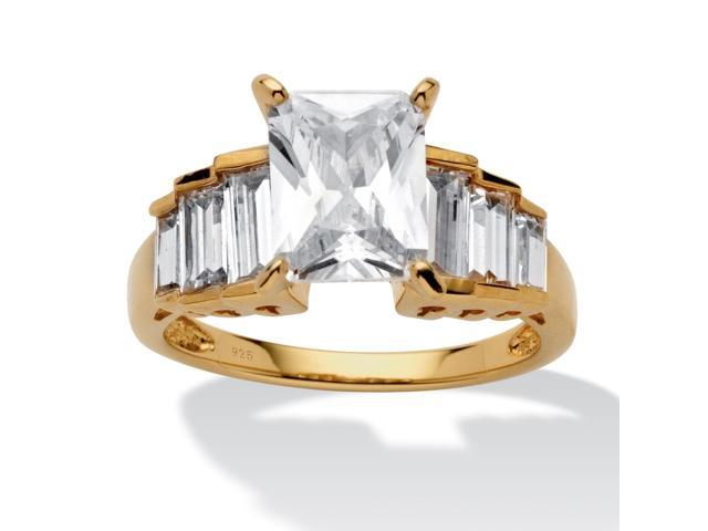 PalmBeach Jewelry 4.82 TCW Emerald-Cut Cubic Zirconia 14k Gold over Sterling Silver Engagement Ring