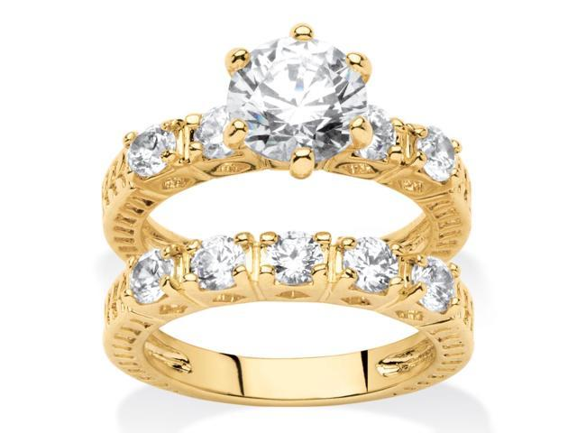 PalmBeach Jewelry 3.12 TCW Round Cubic Zirconia 14k Yellow Gold-Plated Wedding Band Ring Set