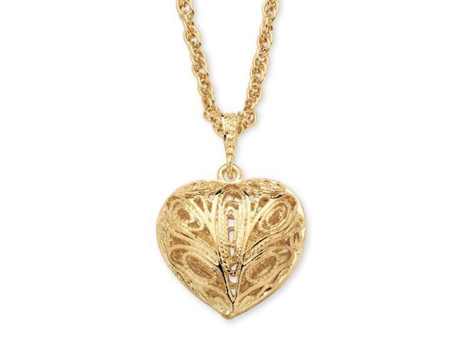 PalmBeach Jewelry Filigree Heart Pendant Necklace in Yellow Gold Tone 24