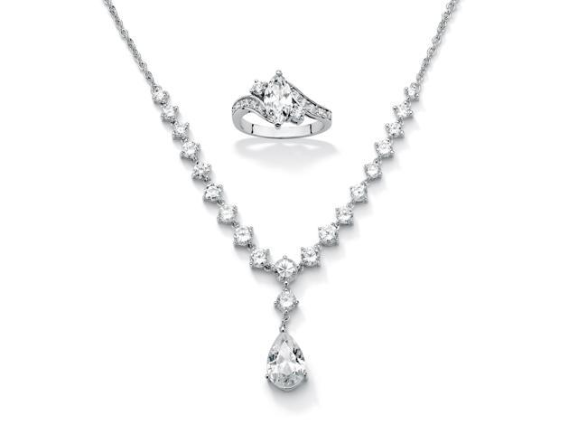 2.49 TCW Cubic Zirconia Ring in Sterling Silver + FREE 6.65 TCW Cubic Zirconia Silvertone Necklace