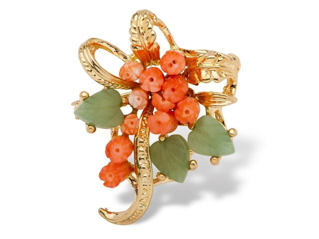 PalmBeach Jewelry Genuine Orange Coral and Green Agate Bouquet Pin in Yellow Gold Tone