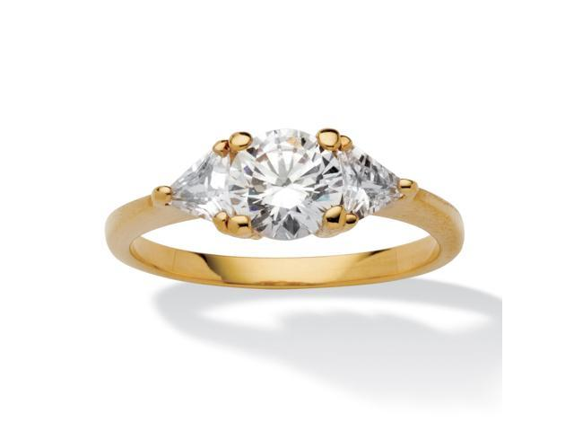 2.18 TCW Round and Trilliant-Cut Cubic Zirconia 14k Yellow Gold-Plated 3-Stone Engagement Ring