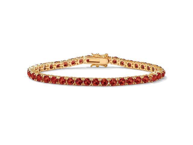 PalmBeach Jewelry Round Birthstone Tennis Bracelet in 18k Gold-Plated -