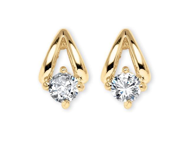 PalmBeach Jewelry .80 TCW Round Cubic Zirconia Earrings in Yellow Gold Tone