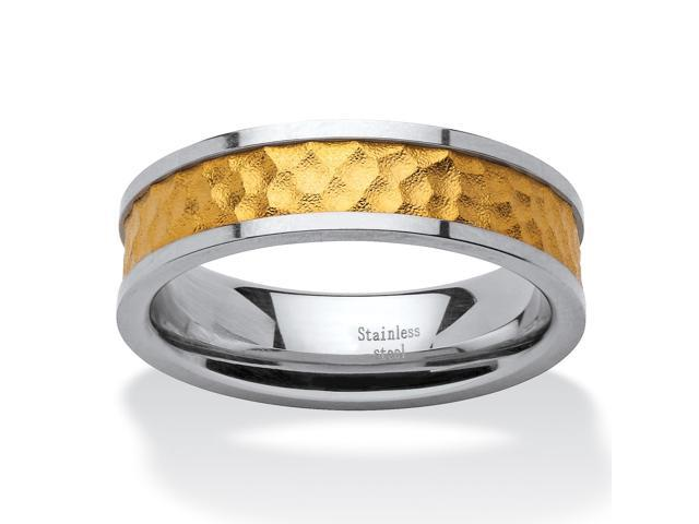 PalmBeach Jewelry Two-Tone Gold Ion-Plated Inlay and Stainless Steel Hammered Wedding Band