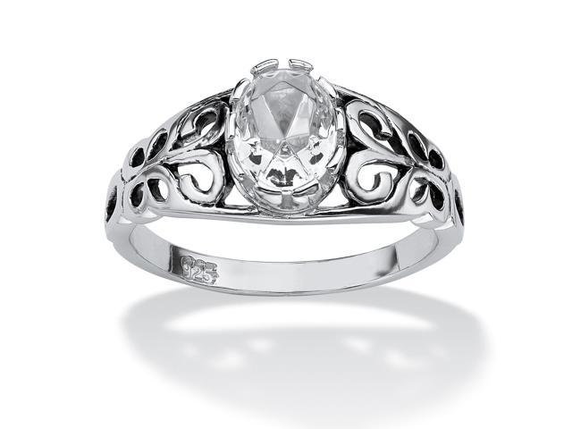 PalmBeach Jewelry Oval-Cut Birthstone Scroll Ring in Sterling Silver - April- Simulated Diamond