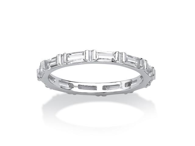 Baguette Birthstone Stackable Eternity Band in .925 Sterling Silver - April- Simulated Diamond
