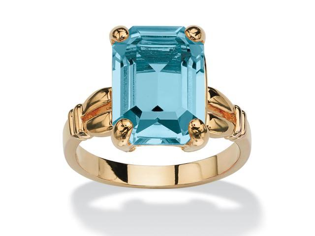 PalmBeach Jewelry Emerald-Cut Birthstone Ring in 14k Gold-Plated - December- Simulated Blue Topaz