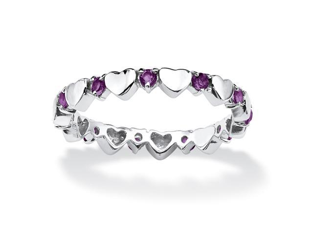 Birthstone Stackable Eternity Heart Ring in .925 Sterling Silver - February- Simulated Amethyst