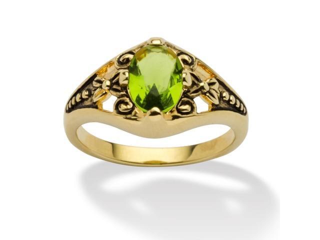 Oval-Cut Birthstone Filigree Ring in Antiqued 14k Gold-Plated - August- Simulated Peridot