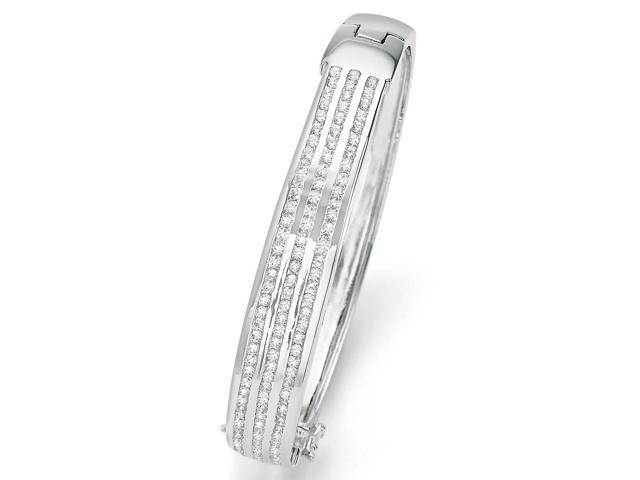 3.63 TCW Round Cubic Zirconia Silvertone Triple-Row Bangle Bracelet 8 3/4