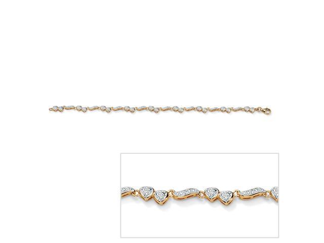 birthday uk diamond white for beads heart co cut anklet gold hollow filigree amazon dp rose gift women jewellery double cutting and