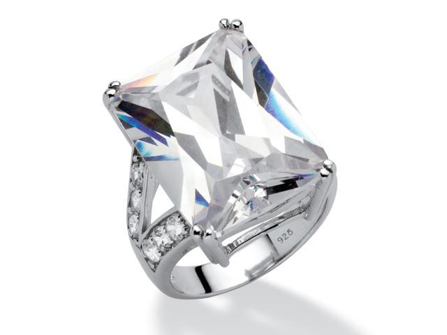 27.10 TCW Emerald-Cut Cubic Zirconia Engagement Anniversary Ring in Platinum over Sterling Silver-482416